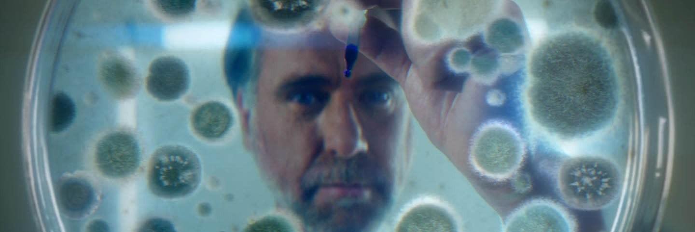 Hombre mirando por encima de una placa de Petri con bacterias
