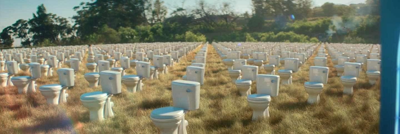 campo lleno de baños